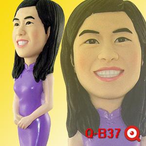 Q-B37-紫色旗袍公仔娃娃